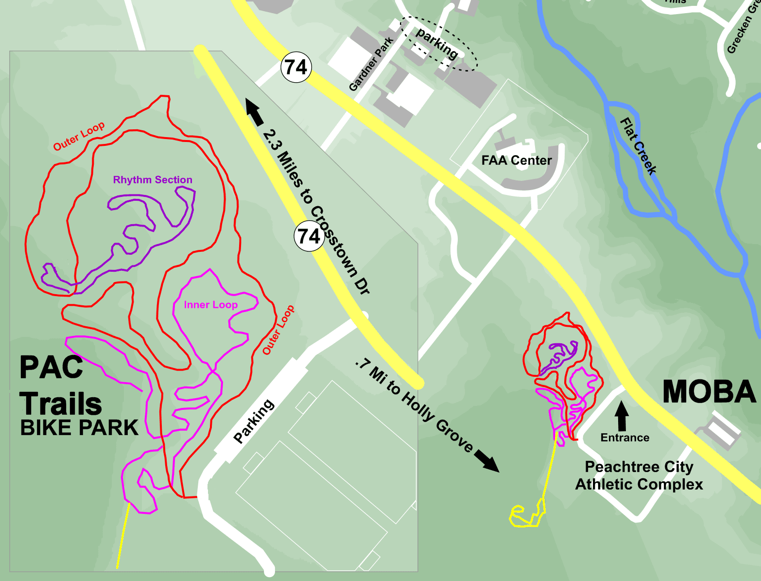 Map of trails at the Peachtree City Athletic Complex
